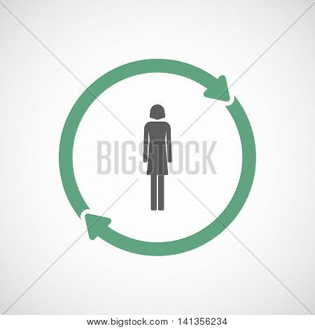 Isolated Reuse Icon With A Female Pictogram