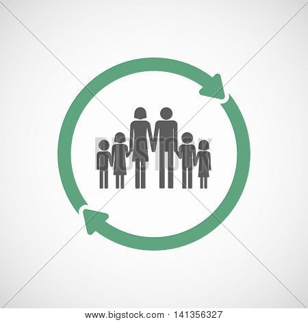 Isolated Reuse Icon With A Large Family  Pictogram