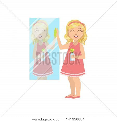 Girl Cleaning The Mirror Simple Design Illustration In Cute Fun Cartoon Style Isolated On White Background