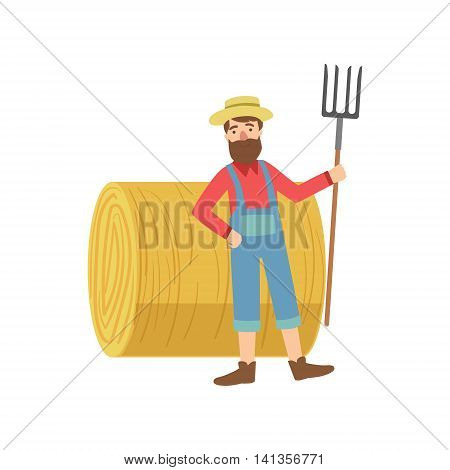 Farmer With The Beard With Hay Stack Roll Simple Childish Flat Colorful Illustration On White Background