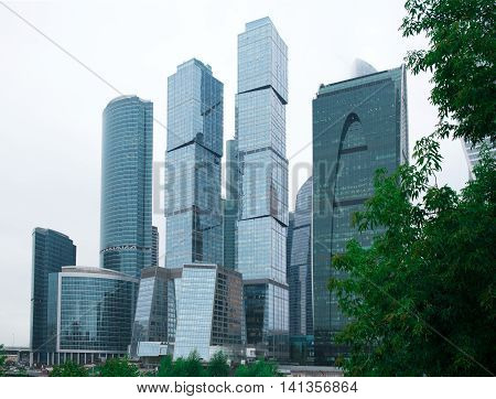 MOSCOW - August 03 2016: Moscow-city. Moscow International Business Center at day Russia