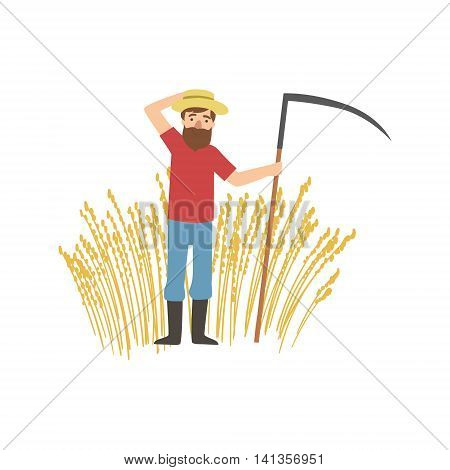 Bearded Farmer With Scythe And Wheat Field Simple Childish Flat Colorful Illustration On White Background