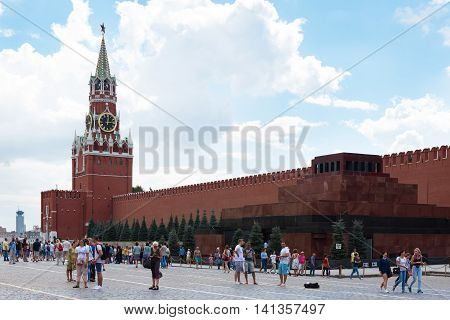 Moscow - August 04, 2016: Moscow Kremlin. Spasskaya Tower, Tourists On Red Square