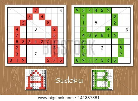 Sudoku vector set with the answers. A, B letters