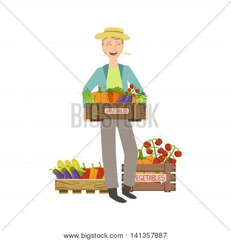 Guy Holding A Wooden Crate Full Of Fresh Vegetables Simple Childish Flat Colorful Illustration On White Background