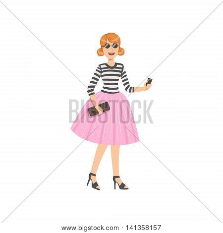 Girl In Pink Tutu And Stripy Top Simple Childish Flat Colorful Illustration On White Background