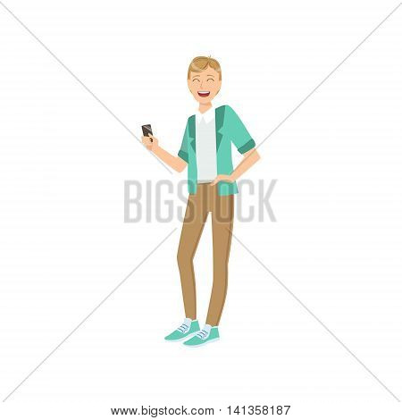 Guy In Fashion Trendy Outfit Simple Childish Flat Colorful Illustration On White Background