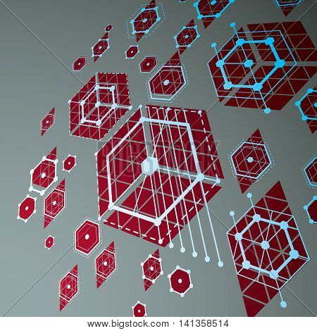3d vector abstract red background created in Bauhaus retro style.