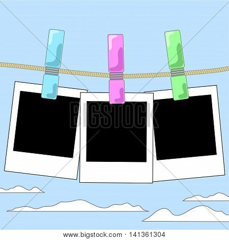Empty photo frames hanging on rope vector illustration. Black and white instant photos pinned to thread. Sky with clouds background. Square image for summer memories with place for text. Photo collage
