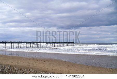 Saltburn Pier taken from Saltburn Beach in Cleveland