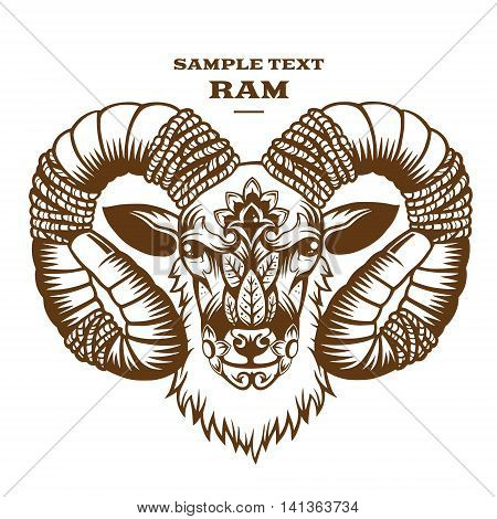 Vector Illustration Ram. Decorative graphics on White background