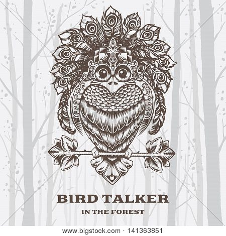 Vector Illustration Bird Talker on White background. Decorative graphics.