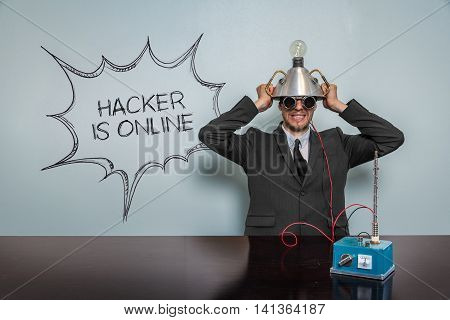 Hacker Is Online text with vintage businessman and machine at office