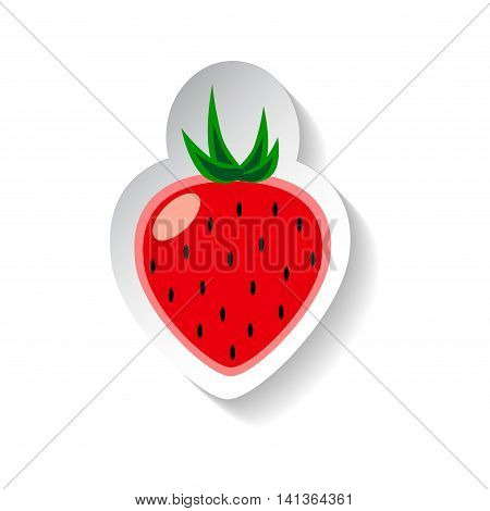 Strawberry vector illustration isolated on white background. Flat style fruit with shadow. Strawberry logo banner template or patch. Paper design element. Red berry jam tag or label. Garden harvest