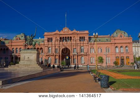 BUENOS AIRES, ARGENTINA - MAY 02, 2016: the pink house it is located in plaza de mayo and its one of the most emblematic buildings in buenos aires, it is the office of the president of argentina.