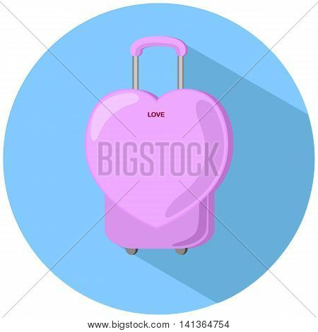 Heart suitcase vector illustration modern baggage case pink heart case round sticker baggage case with heart shape heart suitcase drawing travel luggage summer holiday bag feminine suitcase