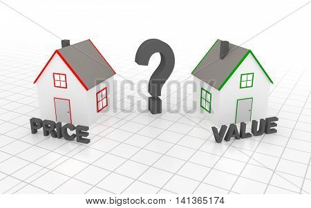 You must choose: price or value. 3D rendering.