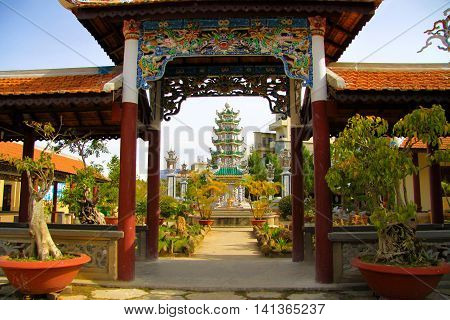 The cao dai temple in Da Lat Vietnam