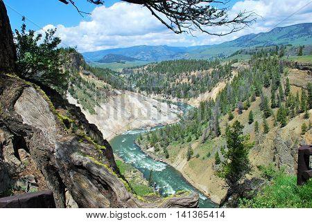 Yellowstone River running through Grand Canyon of Yellowstone