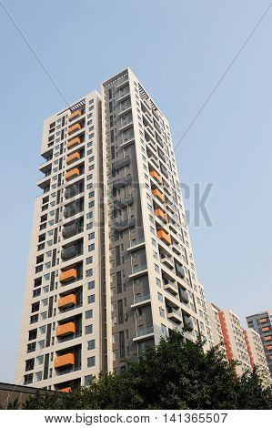 low angle view of modern apartment skyscraper