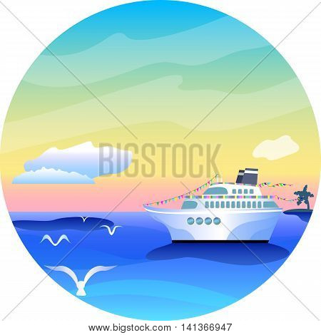 Round vector illustration with cruise liner and sea landscape tropical holiday vibrant image summer vacation travel illustration caribbean or hawaii islands cruise ship picture cover image of ship