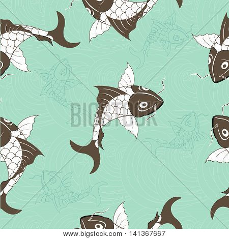 Koi chinese carp seamless pattern. Vector blue background with fish.