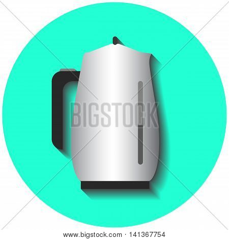 Metallic tea pot kitchen water boiler flat style vector illustration on green round background. Electric boiler for hot water. Kitchen table device. Comfortable home appliance. Breakfast drink icon