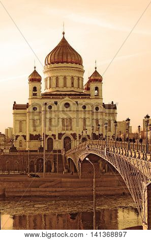 Christ the Savior Church in Moscow Russia. Vintage style sepia photo.
