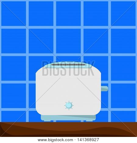 White and blue toaster on wooden table. Vector illustration in flat style. Small house appliance. Kitchen baking machine. Breakfast sandwich cooking. Cartoon style square image for modern home