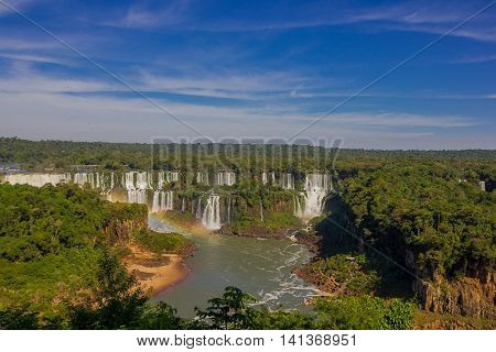 IGUAZU, BRAZIL - MAY 14, 2016: the name of iguazu comes from a native language that means big water, and these is the largest set of waterfalls in the world.