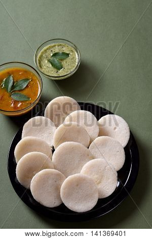 Idli With Sambar And Coconut Chutney, Indian Dish : South Indian Favourite Food Rava Idli Or Semolin