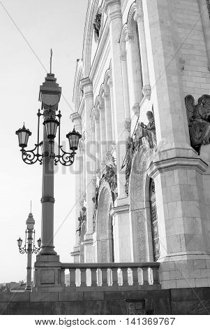 Christ the Savior Church in Moscow Russia. Black and white photo.