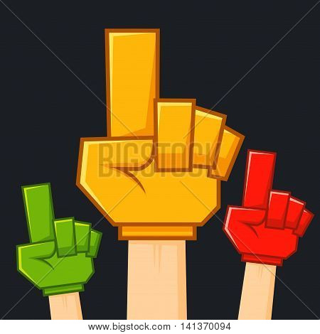 Vector stock of hand raised with colorful supporter foam glove