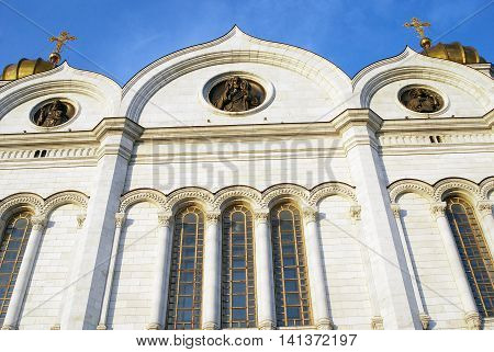 Christ the Savior Church in Moscow Russia. Blue sky.