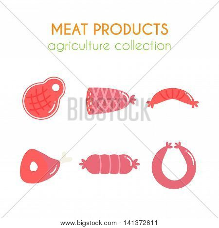 Vector meat products illustartions. Sausages and ham design. Cartoon slice of steak. Barbecue set. Pork and beef meat elements. Flat agriculture collection.