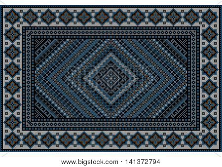 Luxurious vintage oriental rug in blue shades with original pattern in the middle