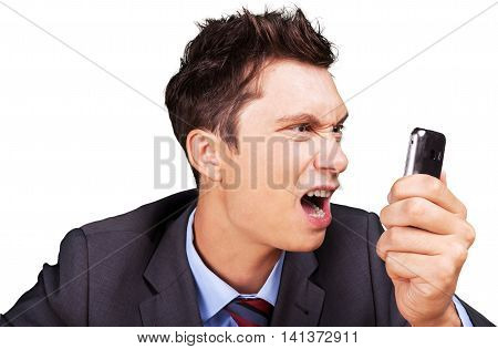 Portrait of a Businessman Shouting at Smartphone