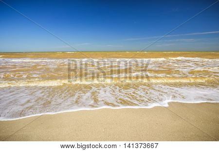 Beautiful seascape. Broken water. Lumpy sea. Composition of nature.