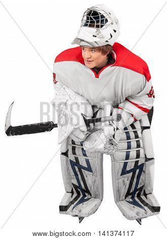 Ice Hockey Goalie Isolated On Transparent Background