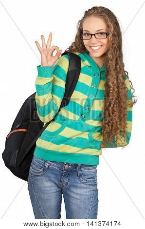Friendly Young Girl with Rucksack and Sign OK - Isolated