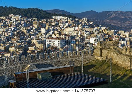 Panoramic view to old town and fortress of Kavala, East Macedonia and Thrace, Greece