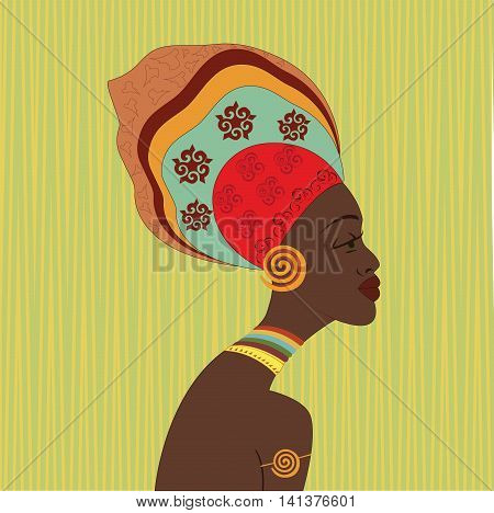 African ethnic woman face. Profile view. Young attractive girl from tribe with colorful turban.