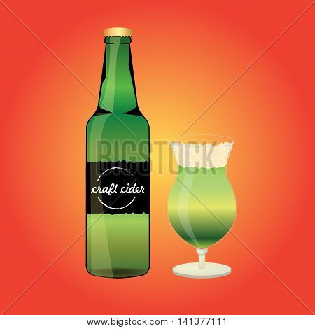 Bottle of the apple cider with glass. Summer alcohol drink. Flat style design.