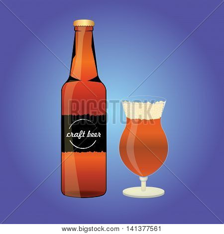 Beer bottle beer glass and beer label. Beer cups silhouette beer vector icons beer isolated. Beer drink beer sign beer pub alcohol.