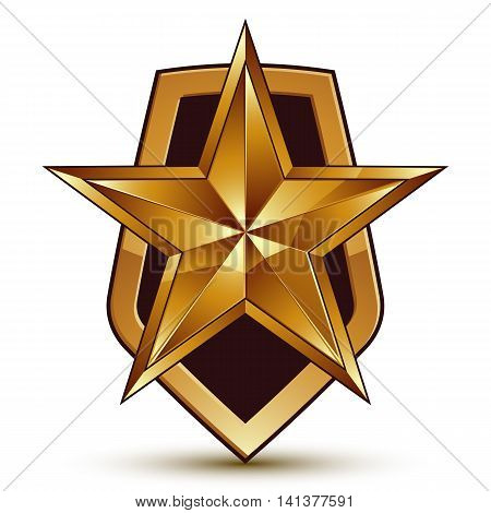 Vector stylized symbol isolated on white background. Glamorous pentagonal golden star