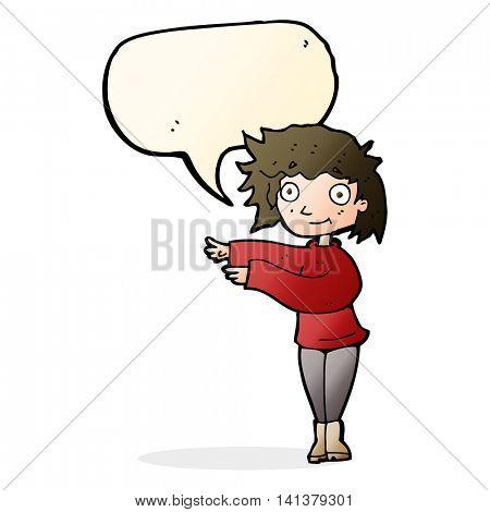 cartoon dancing woman with speech bubble