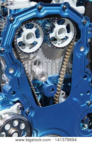 A Cut Away of the Gears and Belts in a Diesel Engine.