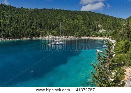 amazing panorama of Foki Fiskardo Beach, Kefalonia, Ionian islands, Greece