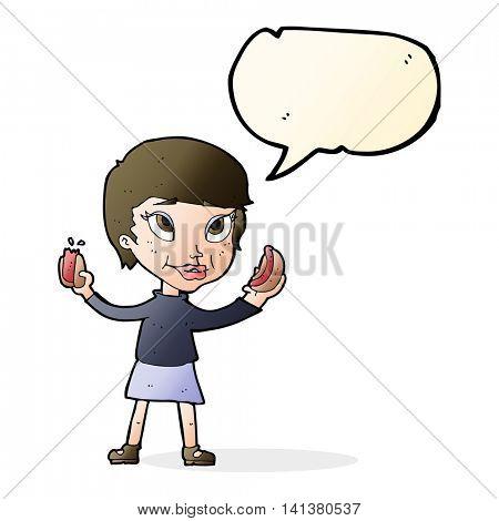 cartoon woman eating hotdogs with speech bubble