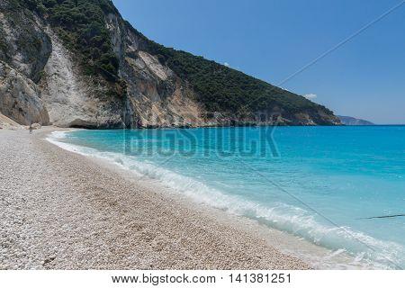 Blue water of beautiful Myrtos beach, Kefalonia, Ionian islands, Greece